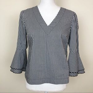 WHBM black & white checkered bell sleeve top